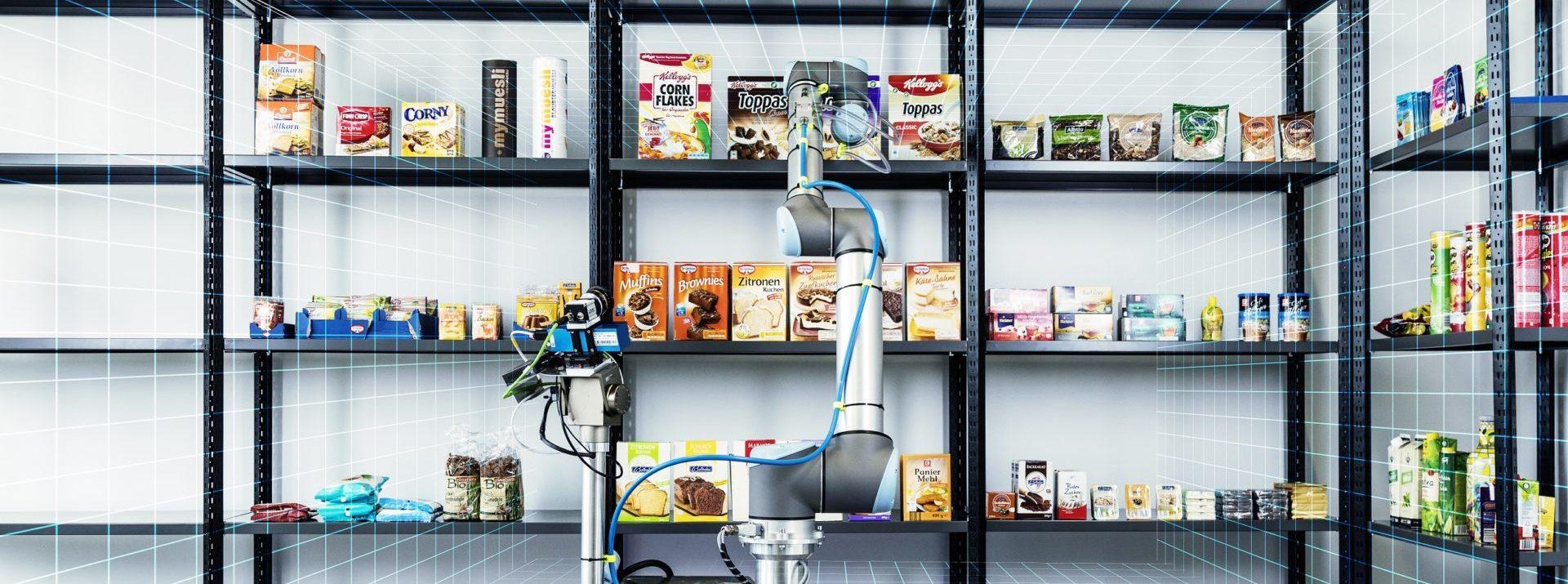 KI-Anwendungsbeispiel: Roboter, der Lebensmittel von einem Regal nimmt