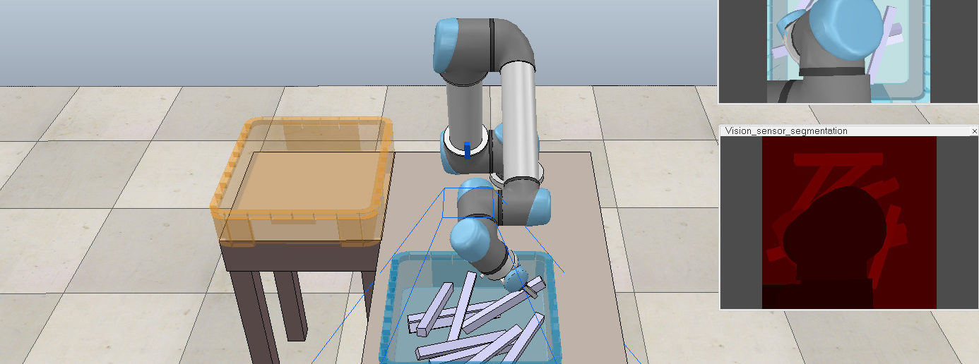 Modellfreies Greifen in sechs Freiheitsgraden mit Parallelklemmgreifer in der simulierten Lernumgebung